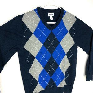 Old Navy Mens Pullover V neck Sweater Argyle Small
